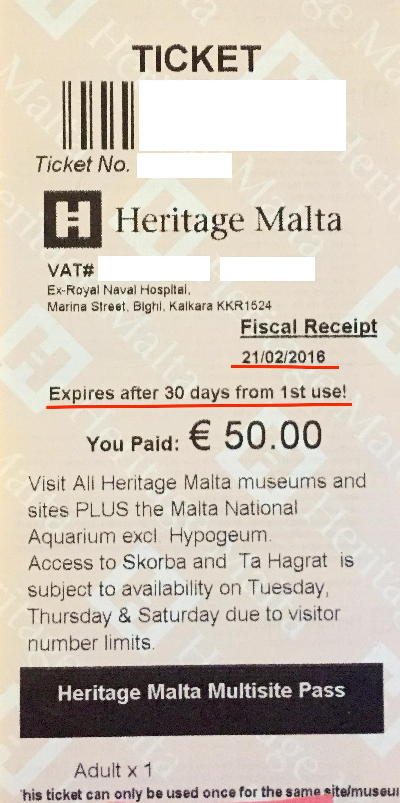 Heritage Malta Multi Pass
